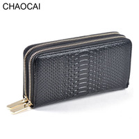 Fashion Women Wallets Genuine Leather Wallet Two Double Zipper Design Crocodile Grain Embossed Female Clutch Purse