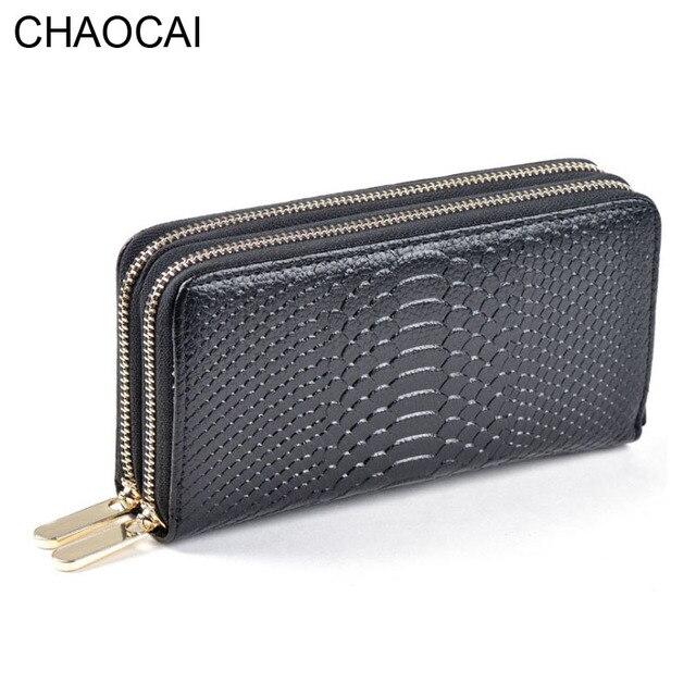 954c969d8eb 패션 여성 지갑 정품 가죽 지갑 두 더블 지퍼 디자인 악어 곡물 양각 여성 클러치 지갑