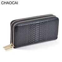 Fashion Women Wallets Genuine Leather Wallet Two Double Zipper Design Crocodile Grain Embossed Female Clutch Purse