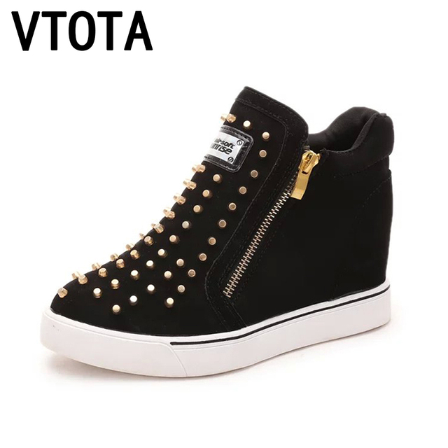 463ce32a2 VTOTA Plataforma Sapatos Mulher Sapatos de Lona Mulher Aumento Rebite  Femmes Chaussures Moda Tenis Feminino Sapatos