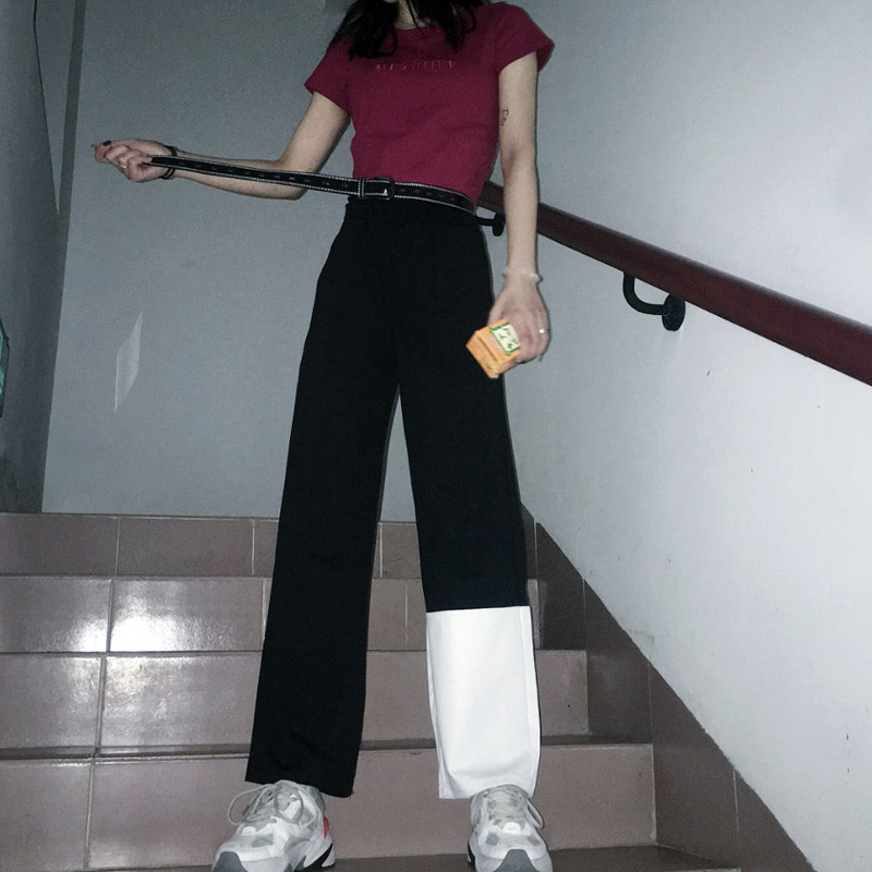 New Fashion Harajuku Women Contrast Color Patchwork   Pants   2019 Ins Popular High Waist   Wide     Leg     Pants   Loose Casual Trousers Women
