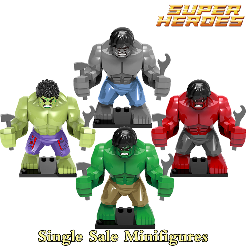 Single Sale Hulk Green Red Gray Building Blocks Super Heroes Avengers diy figures Bricks Action Figure DIY Toys For Kids Xmas