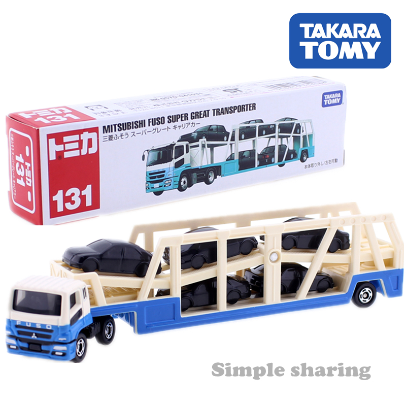 TOMICA Long Type NO. 131 MITSUBISHI FUSO SUPER GREAT TRANSPORTER Truck TAKARA TOMY Diecast Metal Car In Toy Vehicle Model