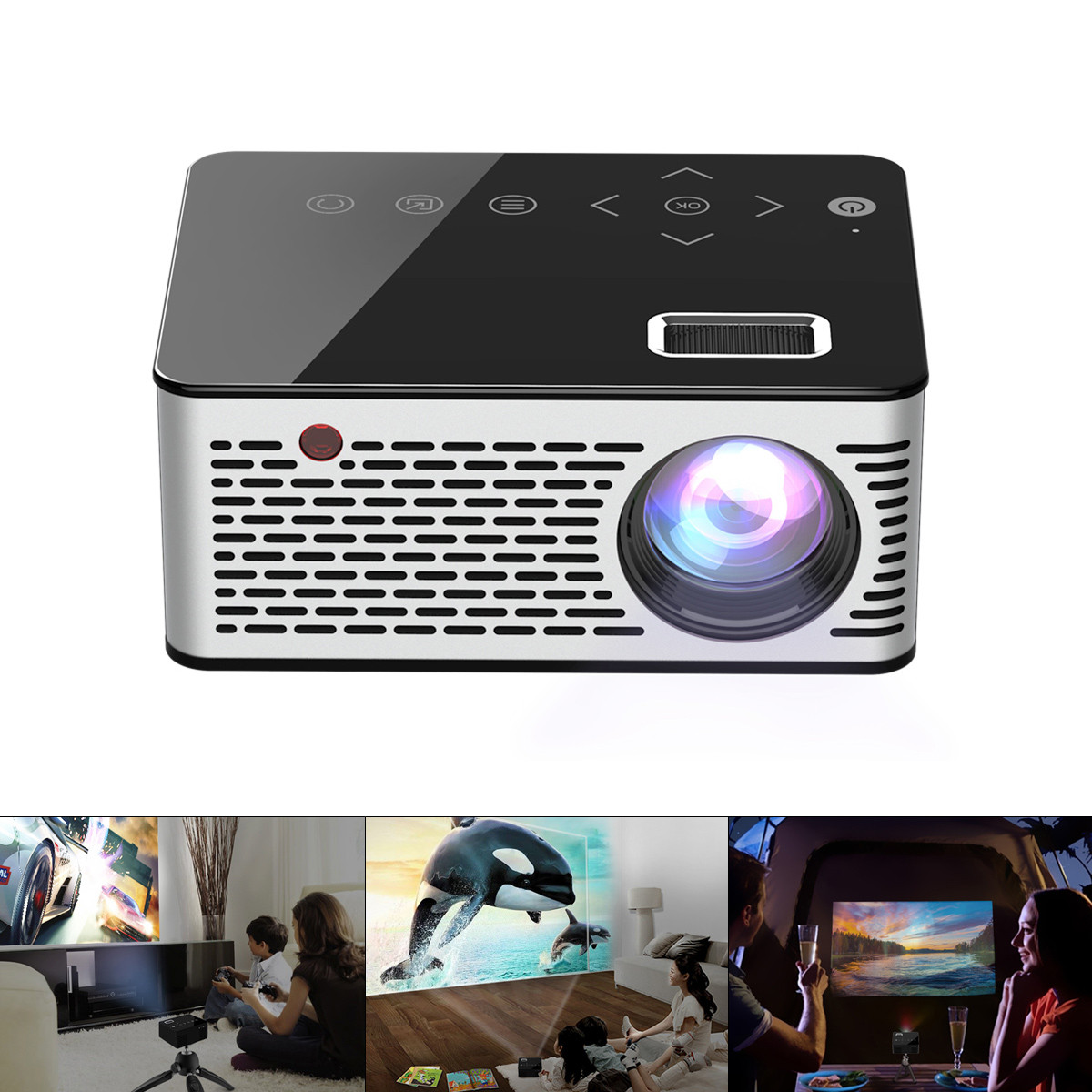 T260 Universal 116 Inch Portable Mini LED LCD Projector AV USB HDMI Home Theater Photo Music Movie Projector with Touch Button image