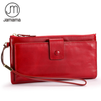 Jamarna Wallet Female Leather Long Clutch Women Wallet Female Card Holder Women Wallets Mobile Phone Pocket Zipper