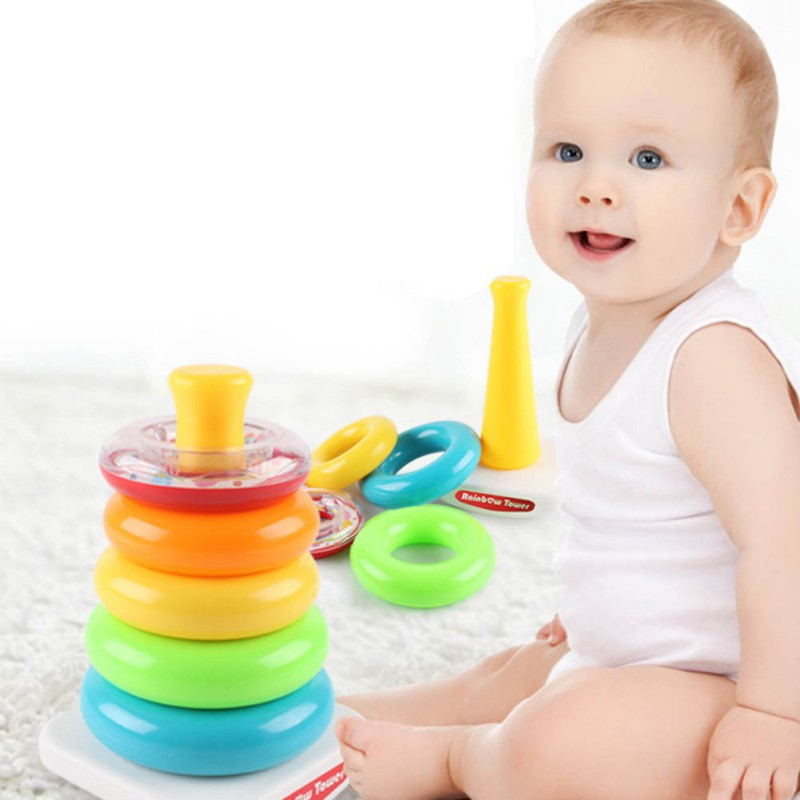 Cute Kids Baby Toys Stacking Ring Rainbow Tower Pattern Intelligent Development Kid's Educational Funny Toys for Children