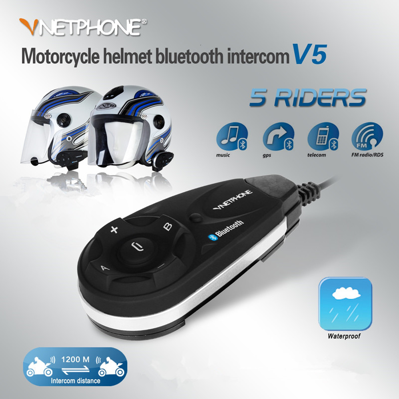 Vnetphone V5/V5-1200 1200m Motorcycle BT Interphones Bluetooth Helmet Intercom Headset 5 Riders Moto intercomunicador with FM vnetphone 5 riders capacete cascos 1200m bt bluetooth motorcycle handlebar helmet intercom interphone headset nfc telecontrol