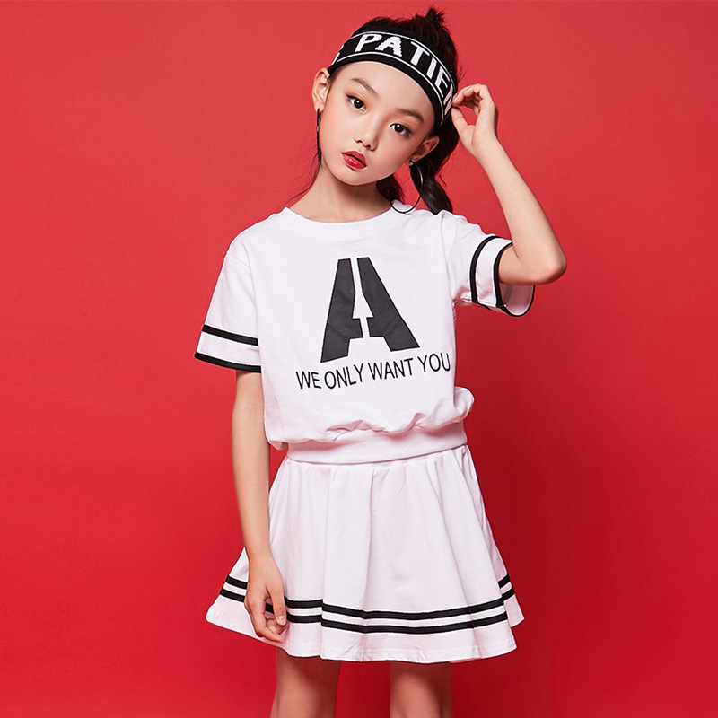 ec60ff74396 Hip Hop Dance Costumes Kids Princess Skirts Girl Jazz Costume Children  Street Cheerleader Dancing Clothes Stage Show Wear DN3671