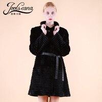 ATLIQINA winter coat women real fur coat whole rabbit fur 90cm long jacket with belt top brand quality warm fashion outerwear