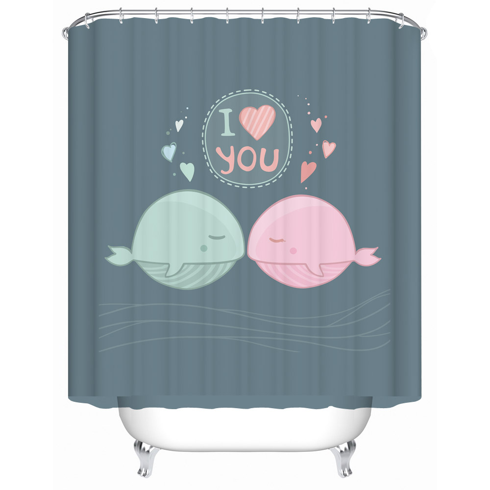 Whale shower curtain - Hot New 3d Whale Printing I Love You Shower Curtain 100 Polyester Waterproof Mould Proof Bath Curtain Door Curtain 180x200cm