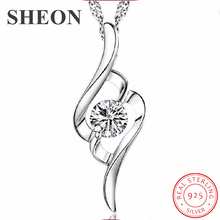 SHEON Heart Collection 925 Sterling Silver Simple Heart Shape Pendant Necklaces With White CZ For Women Engagement Jewelry Gift цена и фото