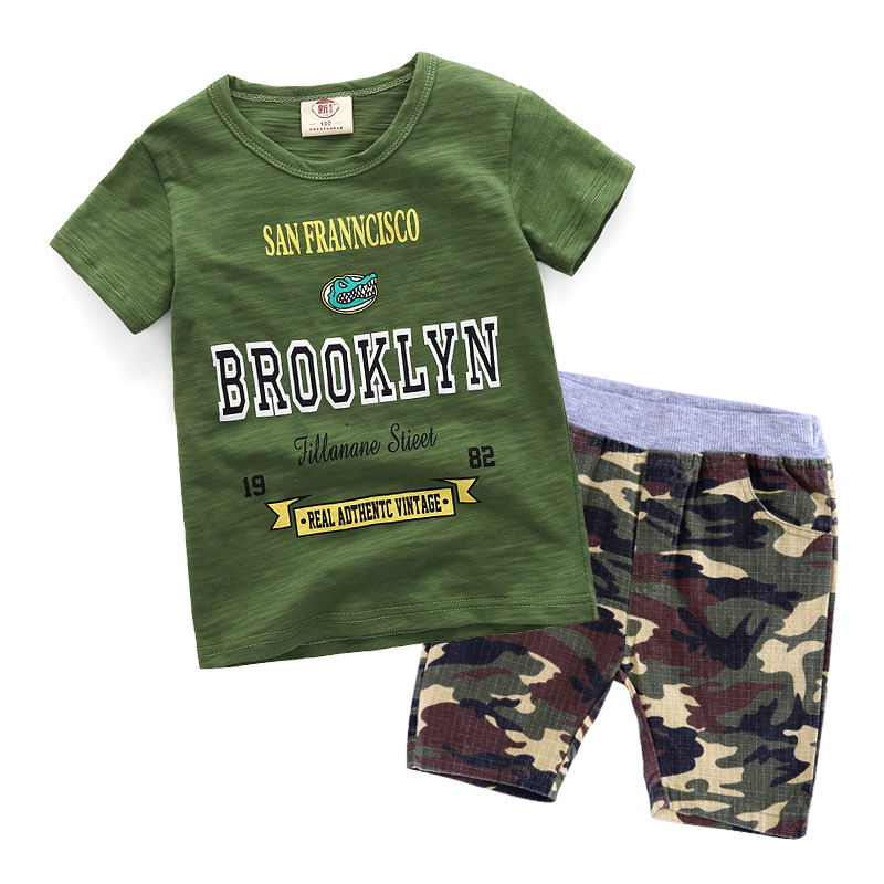 SOGNI KIDS clothes boys 2018 summer brand casual boys clothing sets Camouflage short sleeves Printing T-shirt +shorts tracksuits