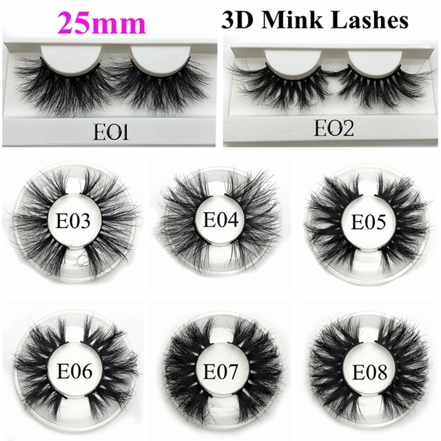 Mikiwi 25mm Mink Lashes False Eyelashes E08 Thick Strip 25mm 3D Mink Lashes Crossing Makeup Dramatic Long 25MM Mink Lashes