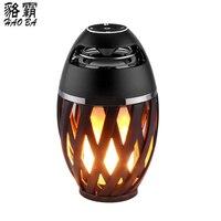 BT4.2 HAOBA Lámpara Llama Altavoz Bluetooth Estéreo Portátil Altavoz Altavoz Para El Regalo De Navidad Atmósfera Suave Luz Que Acampa