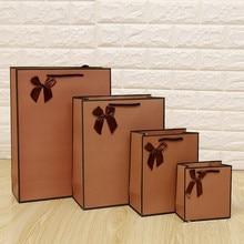ФОТО free design 100pcs/lot light brown paper gift bag packing bag print logo free shipping