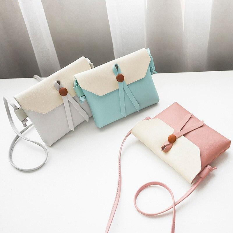 Sweet Women Mini Messenger Bag PU Leather Cute Hit Color Girl Casual Crossbody Shoulder Bags 88 9 Popular