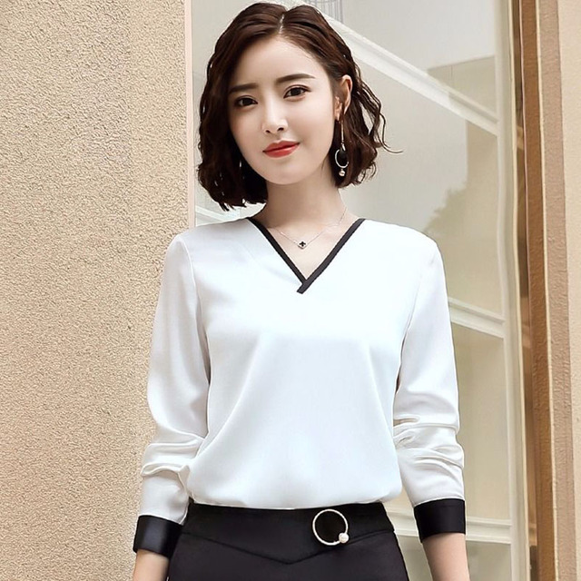 Women Chiffon Blouses V-Neck Zipper OL Long Sleeves Loose Shirt Blouse Blusa Feminina elegant solid color Plus Size DD2353 3
