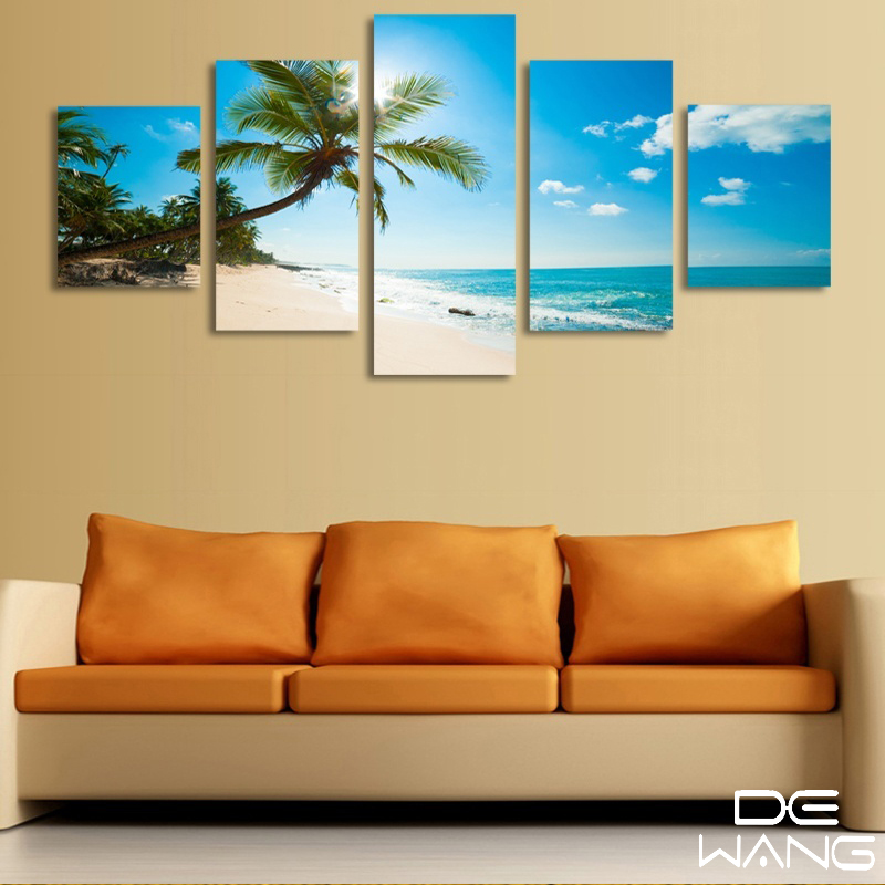 5 Pieces Canvas Wall Art Coco Tree Abstract Painting Frame Maldives ...