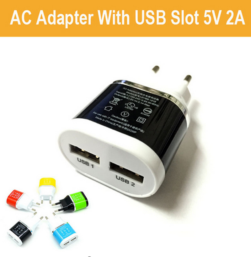 EU Plug Dual USB 5V 2A Wall Charger 2 Ports Travel Adapter լիցքավորիչ iPhone 5s 6 6lus համար iPad- ի համար Galaxy S7 S6 Note 7 N9000- ի համար