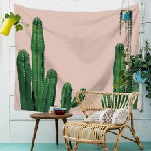 Watercolor Cactus Printed Tapestry Polyester Hippie  Fabric Bohemian Print Home Decor Wall Hanging Tapestry Beach Throw Blanket round beach throw with tribal maya totem printed