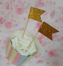 gold flags Glitter Cupcake Toppers baby bridal shower birthday cake toothpicks wedding hem night party decorations