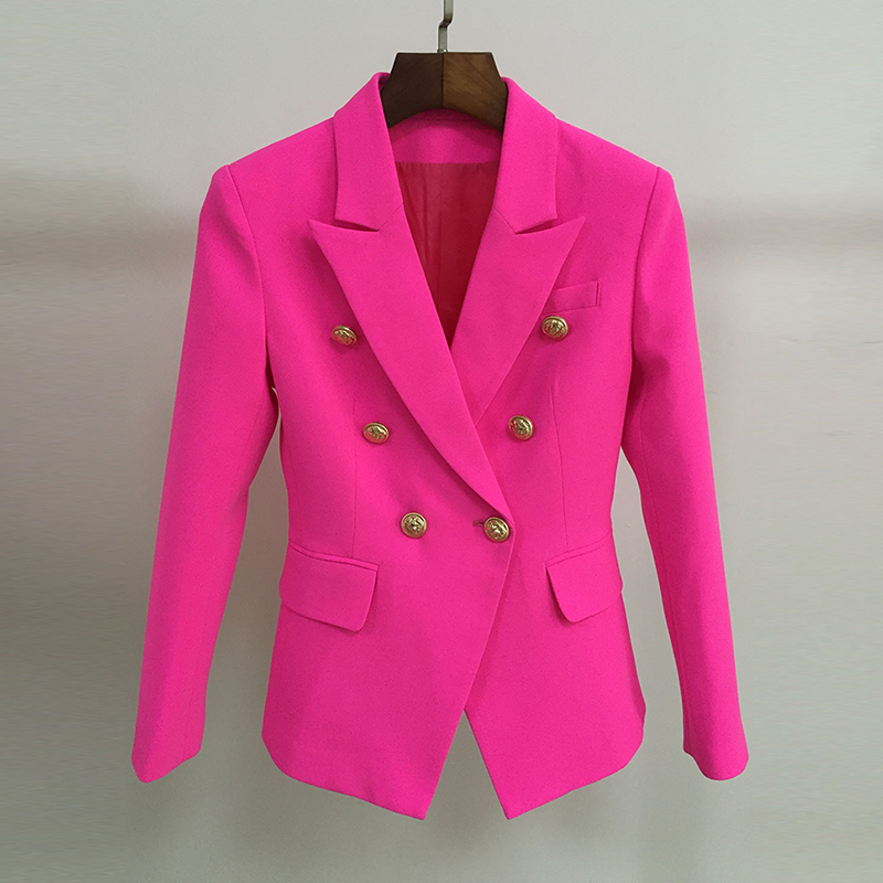 EXCELLENT QUALITY New Fashion 2019 Designer Stylish Blazer For Women Ladies Lion Buttons Double Breasted Career Blazer Jacket