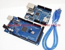 Ücretsiz kargo! Ethernet W5100 ağ genişletme kartı SD kart kalkanı ile arduino için Mega 2560 R3 Mega2560 REV3 ve usb kablosu