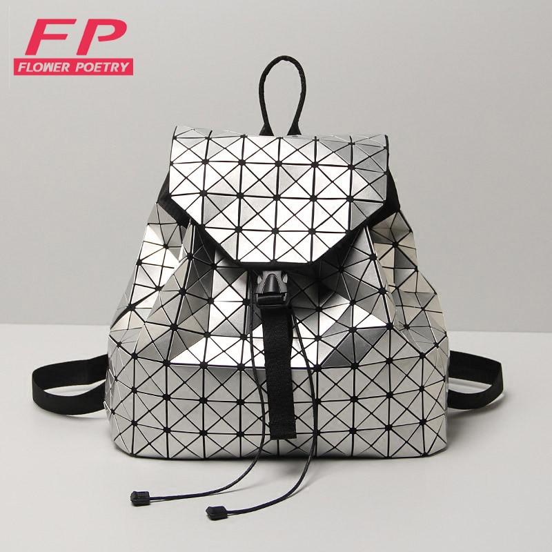ФОТО Hot Sale Laser Geometric Bao Bao Women Backpack Bags Women Fashion School Bag Folding Sequins Girl Shoulder Bag Daily Backpacks