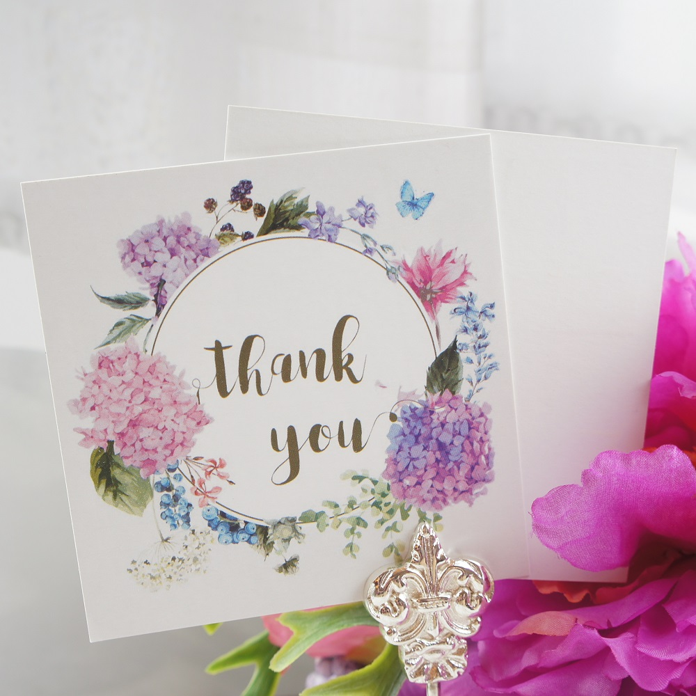 multi-use 50pcs Mini thank you Card hydrange garland purple style message cards valentine Christmas Scrapbooking