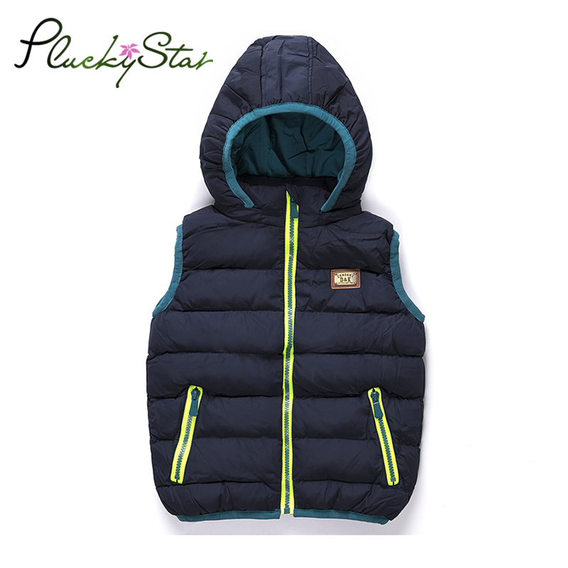 Pluckystar Thick Vest For Boys Hooded Waistcoats Jacket For A Boy 2-8 Years Sleeveless Baby Boy Vest Navy Children Clothing V06 barbour hackamore vest navy