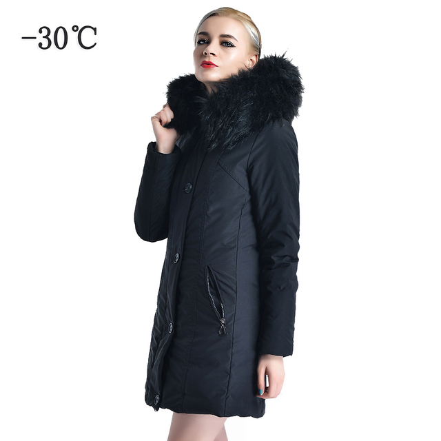 0decb7cb2 US $105.0 |COUTUDI Winter Women Long Coat Thick Warm Female Parka Coats  Solid Black Windbreaker Women's Winter Jackets Fur Hood Coat Parkas-in  Parkas ...
