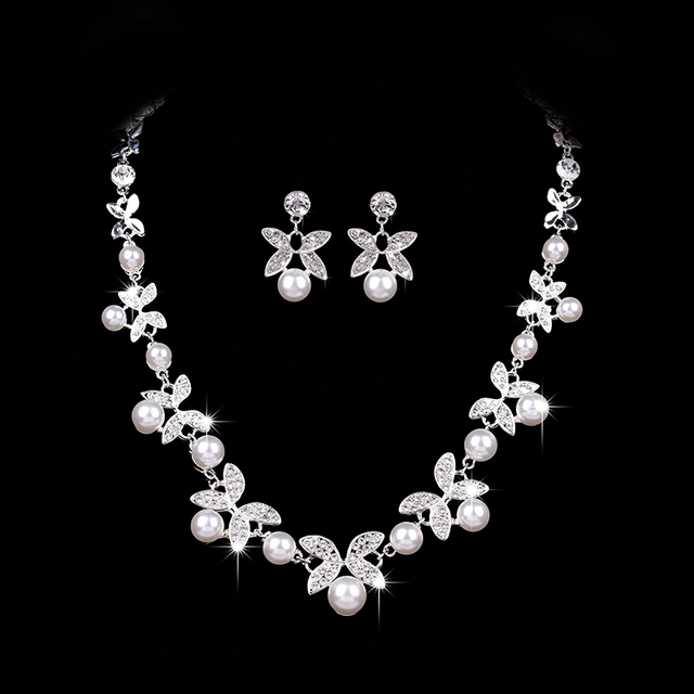 Top Elegant Simulated Pearl Wedding Jewelry Sets Flower Leaf Crystal Silver Necklaces Earrings For Women Bridal