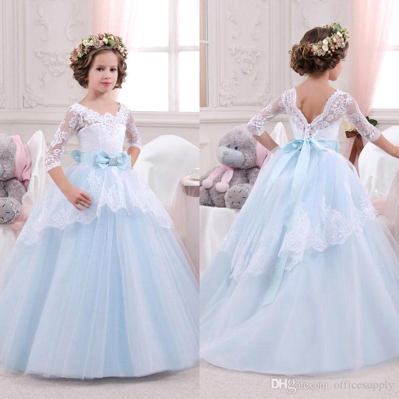 2017 Elegante Azul de la Flor Blanca Vestidos de Las Muchachas Medias  Mangas de Encaje vestido
