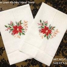 Набор из 12 модных носовых платков, полотенце с вышитым цветочным принтом, белое конопляное белье, винтажное полотенце для рук, полотенце для гостя 14x22-дюймов