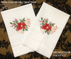 Set of 12 Fashion Handkerchiefs Towel with Embroidered Floral white Hemstitched Linen Vintage Hand Towel  Guest Towel 14X22-inch