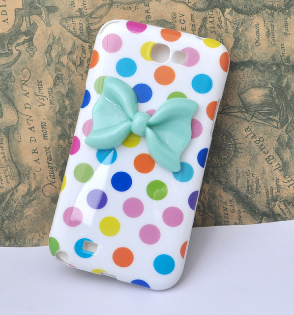 Dots soft TPU  case for samsung Galaxy  Note II 2 N7100 with resin resine bow [JCZL DIY Shop]