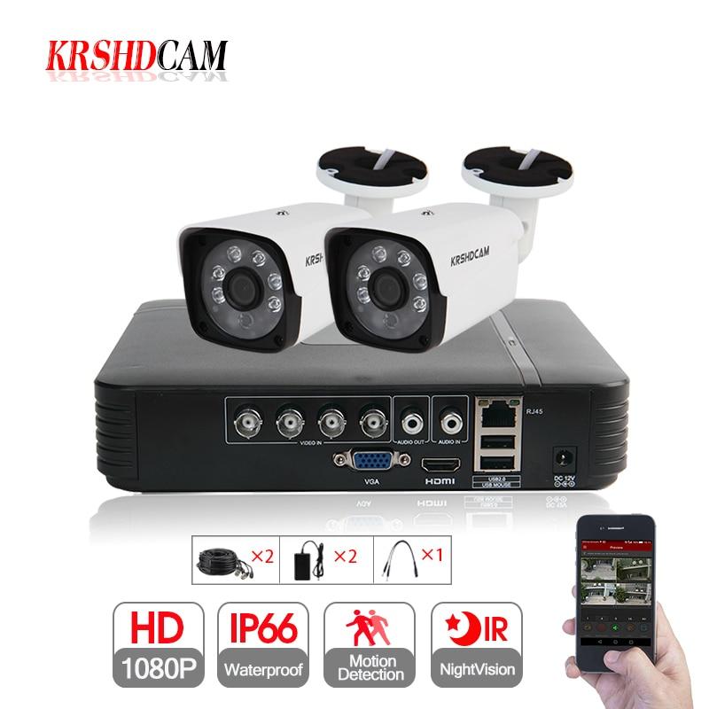 1080N KRSHDCAM 4CH CCTV Sistema 1080 P AHD CCTV DVR 2 PCS 3000TVL À Prova D' Água IR Ao Ar Livre Câmera de Segurança De Vídeo Em Casa kit de vigilância
