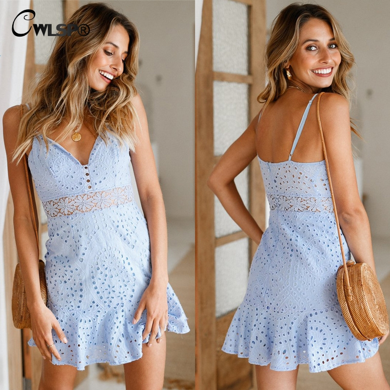 CWLSP Hollow Out V neck Women Summer Mini dress Fashion Solid Strapless Ruffles dresses Sexy Party vestidos robe femme QL3674 in Dresses from Women 39 s Clothing