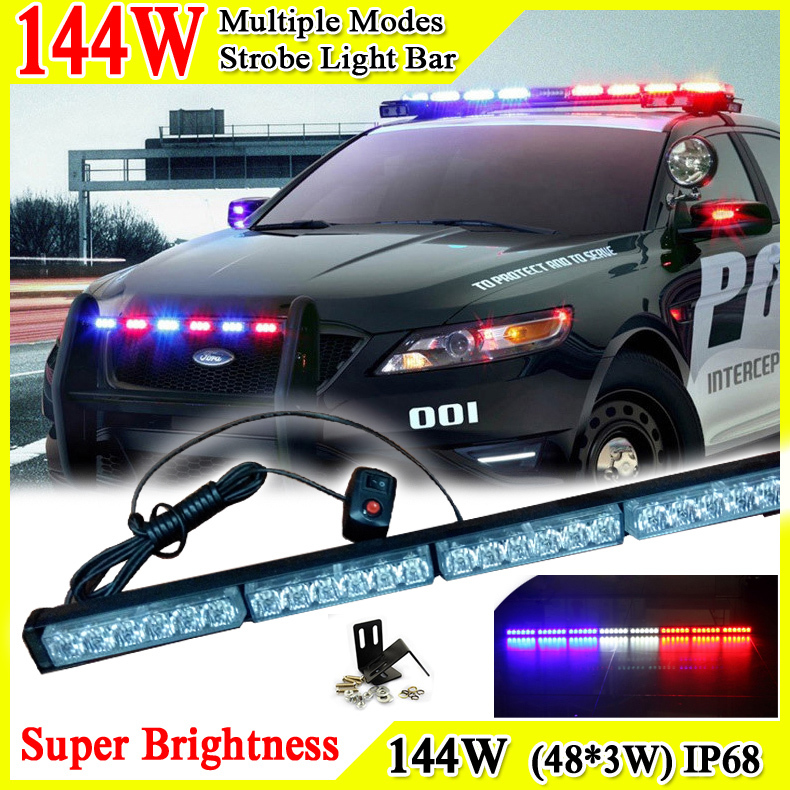 46inch 144W Car Roof Led Strobe Lights Bar Police Emergency Warning Fireman Flash Led Trailer Lights 12V Led Police Lights Bar