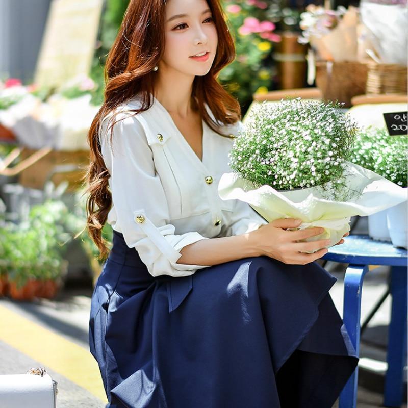 15219e77f3c5c Dabuwawa New Spring V neck White Shirts Ladies Women Long Sleeve ...