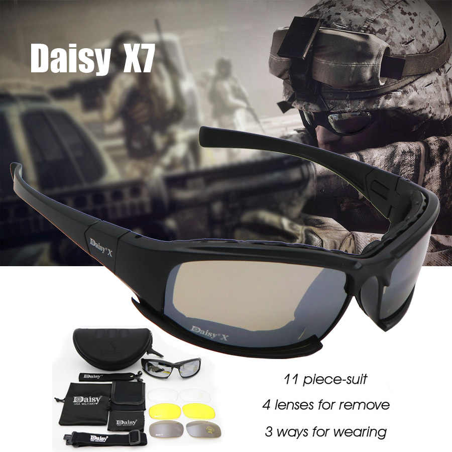 c225135c08 Daisy C6 Military Goggles Bullet-proof Army Polarized Sunglasses X7 4 Lens  Men Hunting Shooting