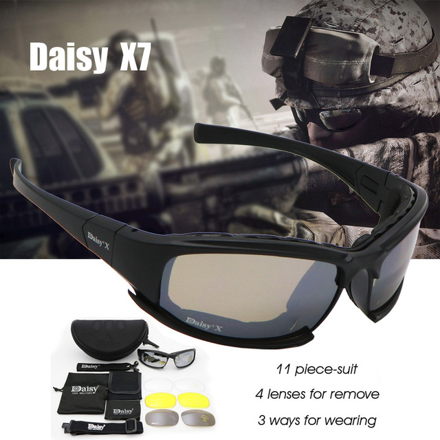 dd97569d35 Daisy C6 Military Goggles Bullet-proof Army Polarized Sunglasses X7 4 Lens  Men Hunting Shooting Airsoft Tactical Eyewear