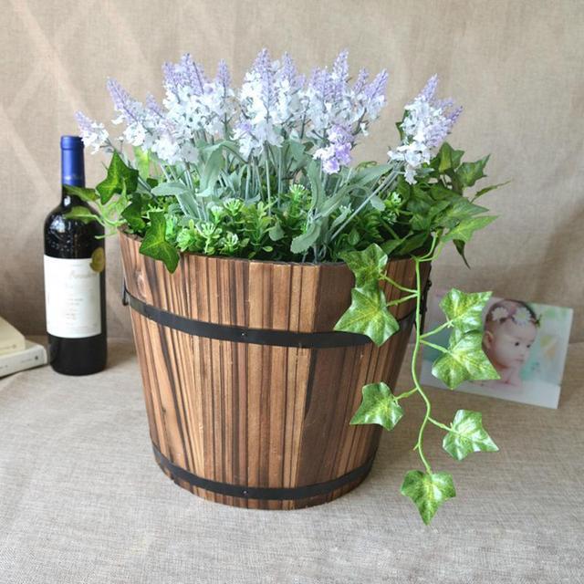 Retro Wooden Garden Treasure Round Barrel Outdoor Pot Home Decor Flower  Planter