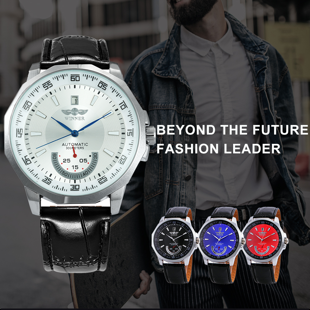 WINNER Official Military Sports Watch Men Automatic Mechanical Sub-dials Calendar Leather Strap Mens Watches Top Brand Luxury