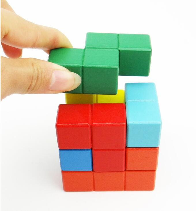 ... Natural Wood Classic 6x6x6 3D Tetris Cube Puzzle Brain Trainning Game  Education Toys (5)