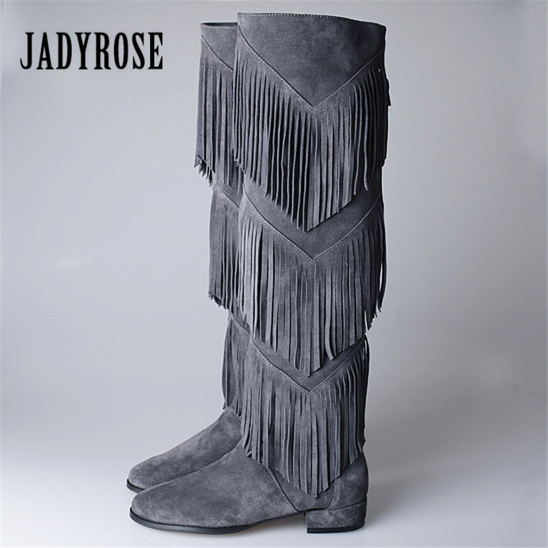 Jady Rose 2018 New Ethnic Full Tassels Women Over The Knee Boots Suede Fashion Tassels Thigh High Boots Flat Martin Boot ppnu woman winter nubuck genuine leather over the knee snow boots women fashion womens suede thigh high boots ladies shoes flats