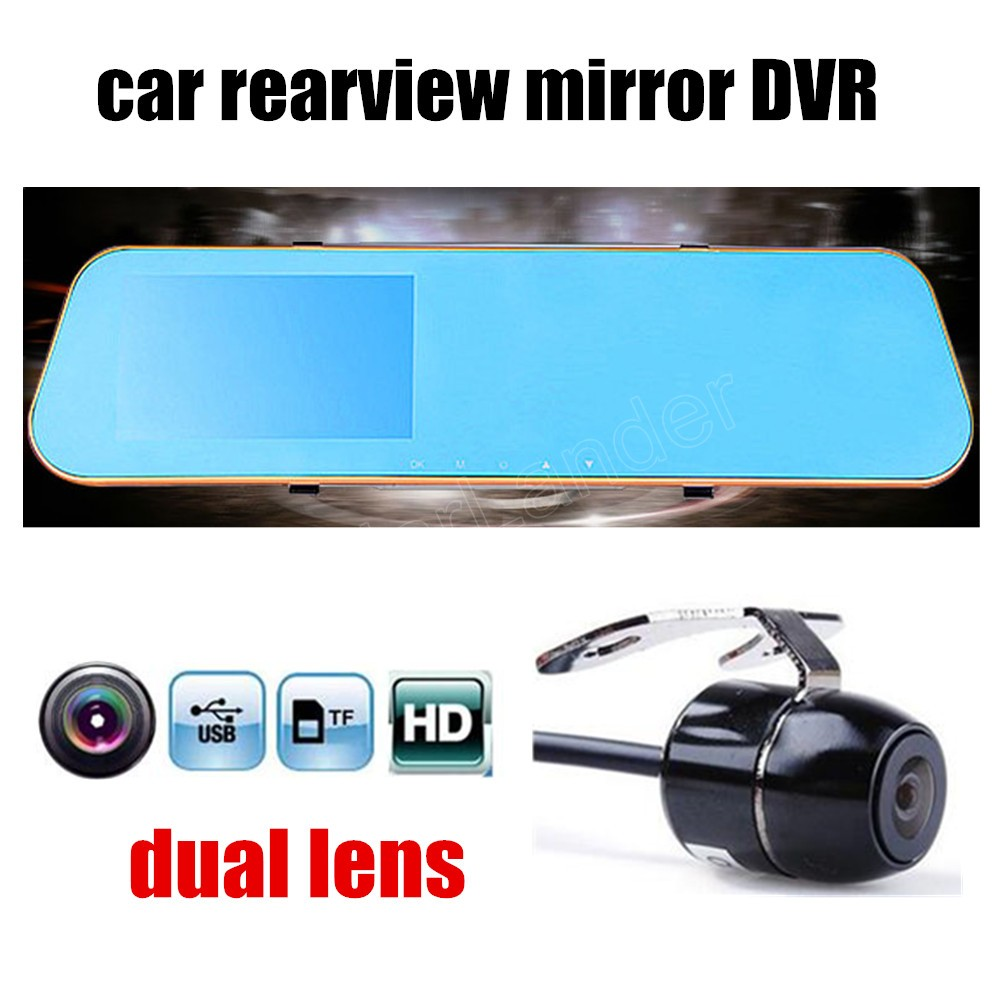 1080P Full HD Car DVR Blue Review Mirror Digital Video Recorder Auto Registrator Camcorder with dual lens rear camera image