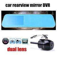 1080P Full HD Car DVR Blue Review Mirror Digital Video Recorder Auto Registrator Camcorder with dual lens rear camera