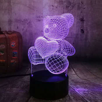 かわいい子供のクリスマスプレゼント USB ちょっと素敵なハートクマ 3D LED RGB 夜の光の雰囲気デスクテーブルランプガールズベビー寝室のインテリア