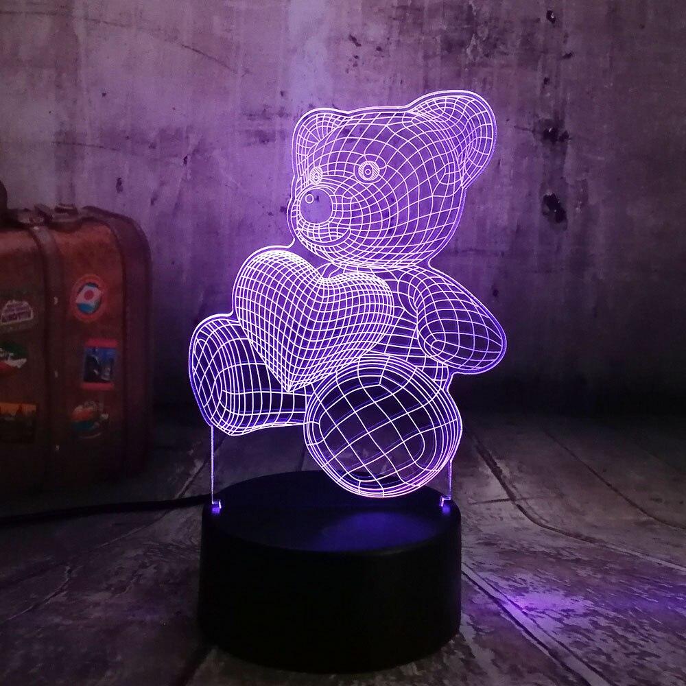 Cute Kid Christmas Gift USB Little Lovely Heart Bear 3D LED RGB Night Light Atmosphere Desk Table Lamp Girls Baby Bedroom Decor